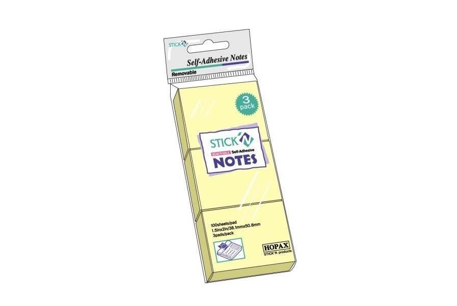 Notes adeziv, 38x51 mm, galben pastel, 100 file/set, 3 set/pach, Stick n