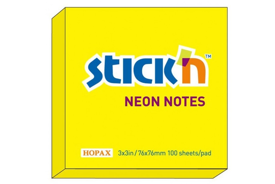 Notes adeziv, 76x76 mm, galben neon, 100 file, Hopax